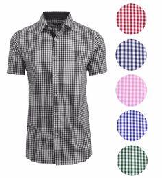 8aaf668b3c1 Mens Short Sleeve Shirt Plaid Gingham Check Slim Fit Button Down Dress  Casual