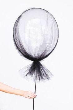 black tulle balloons.