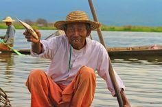 A Balancing Act by Inle Lake's Fishermen, Myanmar