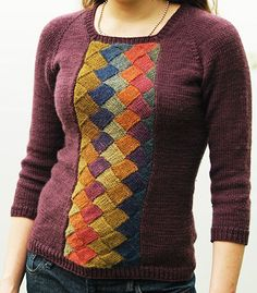 Free knitting pattern for pullover sweater with entrelac panel Tenney Park. Great for multi-color yarn!