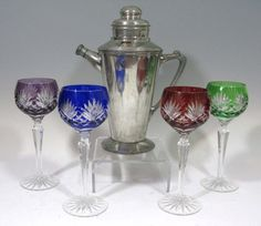 4 @ CUT TO CLEAR GLASSWINE STEMS & MARTINI SHAKER : Lot 194