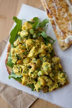 Sweet and Lightly Spicy Curried Chicken Salad Sandwich with Roasted Cashews and…