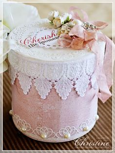 gorgeous pink and white gift box/ white satin top with diy flowers, scallop lace edge, braided bottom