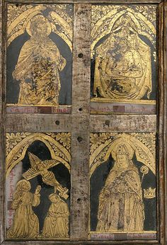 """In his Craftsman's Handbook (about 1390), the Florentine artist Cennino Cennini outlines the """"individual attractive, fine and unusual"""" process of gilding glass """"for the embellishment of holy reliquaries. Reliquary Diptych. Late 14th century, Verre, églomisé, polychromy, wood and metal."""