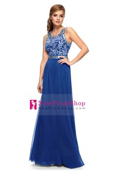 2015 Prom Dresses Sleeveless Floor Length Chiffon Zipper Up Back With Beading/Sequins Dark Royal Blue