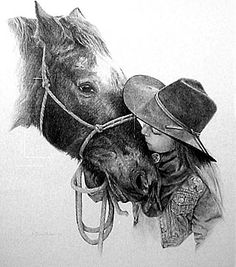 """Drawing done in pencil. Artist: Sheri Greves-Neilson. """"True Love"""" This drawing has a lot of detail in it and there is a lot of shading. The horse has a lot of detail and so does the girl especial in her coat."""