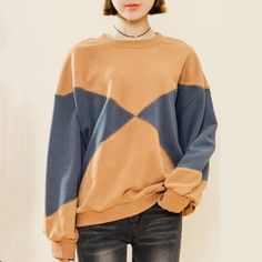 Preppy style geometric color block sweatshirt for girls