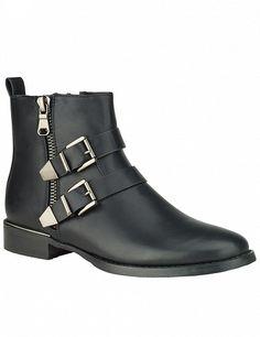 Stiefeletten in Lederoptik, schwarz Biker, Boots, Fashion, Products, Black, Crotch Boots, Moda, Fashion Styles, Shoe Boot