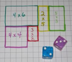 array/multiplication math game: Roll the dice and draw the area array on your own grid - first to fill it wins. Or 2 players choose a different coloured pen each, use one grid and the player who cannot complete the last array is the loser. Math Resources, Math Activities, Math Multiplication, Math Stations, Math Centers, Math Workshop, Homeschool Math, Homeschooling, Math Classroom