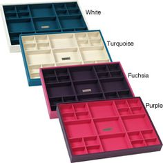 @Overstock - Keep your jewelry organized and protected with these stackable jewelry storage trays from Wolf Designs. Available in four lovely colors, these trays feature different sized compartments and are lined with a soft fabric for maximum protection. http://www.overstock.com/Gifts-Flowers/Wolf-Designs-Stackables-Large-Standard-Tray/6373474/product.html?CID=214117 $30.00
