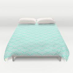 Mint Wave Duvet Cover