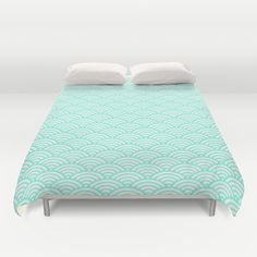 Mint Wave Duvet Cover