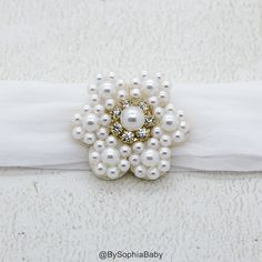 Baby Headband Baby White Pearl Flower Headband by BySophiaBaby