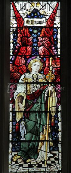 Religious Stained Glass Windows | stained glass window depicting Archangel Raphael, St Michael & All ...