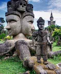 """Buddha Park, Laos. """"Located 25 kilometres from Vientiane this sculpture park is also known as Wat Xieng Khuan wich means Spirit City. The park contains over 200 Buddhist and Hindu statues."""""""
