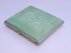 FINE ART DECO SOLID STERLING SILVER & ENAMEL CIGARETTE CASE - BIRMINGHAM 1932