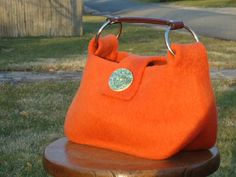 Spring Orange Amber Wool Felt Purse Handbag by susanbflanagan
