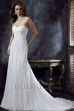 A-Line Empire Strapless Chiffon Beach Wedding Dresses
