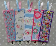 DIY Bookmarks: Felt, fabric, button, and ribbon. Safe for your book and perfectly personalized. So cute.