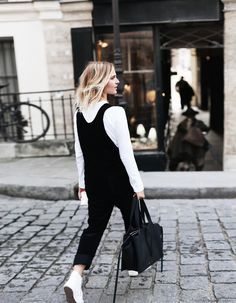 YMC jumpsuit, Comme des Garcons Play longsleeve, Chloé sneakers, Céline tri fold bag. Via Mija