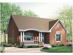 European House Plan with 1186 Square Feet and 2 Bedrooms from Dream Home Source | House Plan Code DHSW65141