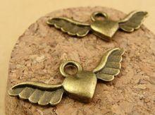 100 шт 28 x 11 мм металл антикварный бронза ангел крыло подвески-талисманы кулон ювелирные изделия поиск(China (Mainland))