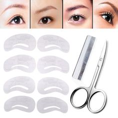Eyebrow Shaping Template Eyebrow Stencil Epilator Hair Removal Grooming Eyebrow Trimmer Scissors Shaver Knife Make Up Tools - EyebrowThreading - Shop – Page 6 of 10 – EyebrowThreading - Brow Stencils, Eyebrow Stencil, Eyebrow Shaper, Eyebrow Trimmer, Eyebrow Grooming, Eyebrow Makeup, Winged Eyeliner Stencil, Eyebrow Template, Makeup Stickers