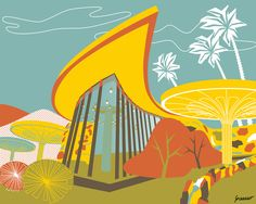 This illustration was inspired by the JPMorgan Chase Bank branch at the corner of Street and Camelback Road in Phoenix, Arizona, that from 1968 until today looks like something right out of the Stone Age. Ice Cream Design, Dreams And Visions, Up To The Sky, Spiritual Beliefs, Stone Age, Googie, Living Room Art, Modern Buildings, Mid-century Modern