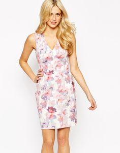 Image 1 ofOasis Waterflower Plunge V Neck Dress
