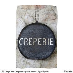 Old Crepe Pan Creperie Sign in Annecy, France Hand Towel. #towels #france #signs #europe #crepes #kitchens #kitchendecor