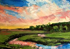 "Original Oil ACEO Landscape   ""Florida Sunset""   by US Artist   Kevin Cross #Impressionism"