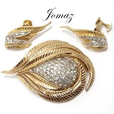 Signed Jomaz Pave and Gold Tone Brooch and by KathysVintageJewels2, $58.00
