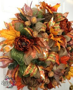 deco mesh wreaths fall | Deco Mesh Fall Wreath For Door or Wall Burlap Grapevine Pumpkins Moss ... Thanksgiving Mesh Wreath, Fall Mesh Wreaths, Fall Deco Mesh, Wreaths And Garlands, Halloween Wreaths, Autumn Wreaths, Deco Mesh Wreaths, Holiday Wreaths, Wreath Crafts