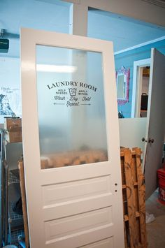 Hmmmm...how about Menu Board, Growth Chart, Job Chart...any font...clear, colored or frosted to your request.  www.g3az.com Laundry Closet, Laundry Room And Pantry, Laundry Room Organization, Laundry Area, Laundry Room Doors, Laundry Room Remodel, Farmhouse Laundry Room, Basement Laundry, Bathroom Doors