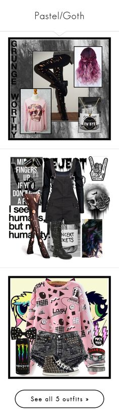 """Pastel/Goth"" by handjobxhemmings ❤ liked on Polyvore featuring Nicole, Boohoo, Wild Diva, Stella & Dot, Hello Kitty, ASOS, Miss Selfridge, Converse, Christian Louboutin and Leg Avenue"