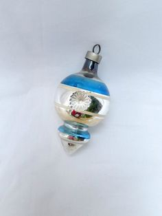 vintage glass ornament silver and blue by vintagebyclaudine