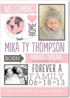 Make way for the new family member by announcing the milestone to all of your family and friends. Whether you're adopting a boy or girl, find birth announcements that you can personalize to perfection.