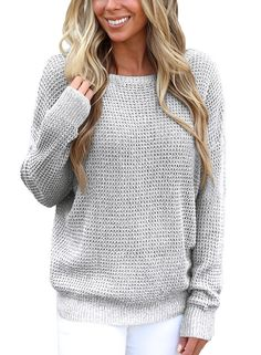 efb4087769 Asvivid Women s Long Sleeve Criss Cross Backless Casual Loose Knit Pullover  Sweaters S-XXL at. Plus Size ...