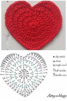 we have a collection here the 70 Free Crochet Heart Patterns that come in dashing yarn colors and are too beautiful to captivate your eyes! Just like other crochet motifs like a square or mandala motif Free Heart Crochet Pattern, Crochet Coaster Pattern, Crochet Diagram, Crochet Stitches Patterns, Crochet Motif, Crochet Flowers, Knitting Patterns, Crochet Designs, Quick Crochet