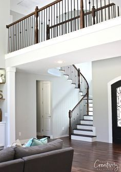 Repose Gray from Sherwin Williams. Beautiful light warm gray. One of the best paint colors out there. The Creativity Exchange