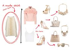 Nude Skirt - - Expert Advice on Fashion The Lady Loves Couture, Love Couture, Nude Skirt, Oversized Sunglasses, Ankle Strap, Pairs, Crop Tops, Jackets, Advice
