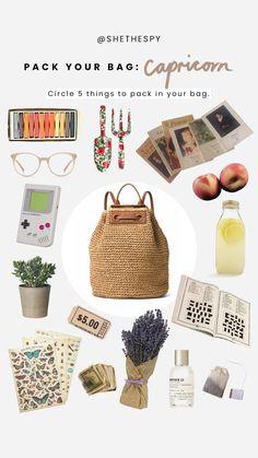 Pack Your Bag: Capricorn Capricorn Art, Astrology Zodiac, Zodiac Signs, Horoscope, Zodiac Clothes, Capricorn Aesthetic, Zodiac Sign Fashion, Pack Your Bags, Instagram Story Template