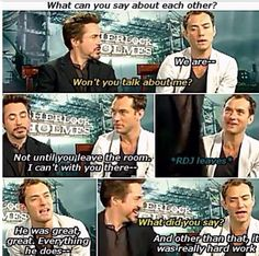 and Jude Law Sherlock Holmes Robert Downey, Sherlock John, Robert Downey Jr, Funny Sherlock, Jude Law, Holmes Movie, Marvel Memes, Marvel Quotes, Downey Junior
