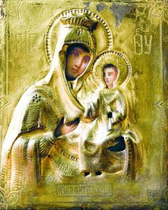 """The """"Deliverer"""" Icon depicts the MostHoly Mother of God holding the Divine Infant, who blesses us with His right Hand. The icon was given as gift between two Mount Athos monks. Prayers to it brought many miracles, such as delivering the inhabitants of Sparta, Greece from locusts in 1841. The icon was transferred to the New Athos monastery in Caucasus in 1889. When the feast day of this icon was first celebrated there, a storm cast more than a ton of fish ashore at the monastery. (Oct 17)"""