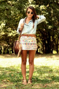 Aztec skirt and chambray shirt