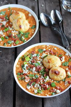 Blue cheese, bacon, chicken, buffalo sauce, and blue cheese gougères? So much goodness packed into this buffalo chicken corn chowder!