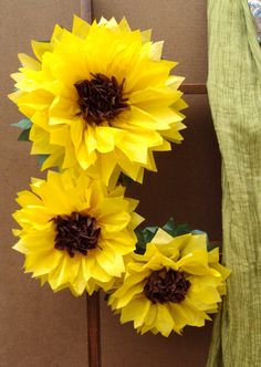 """Large 12"""" and 8"""" Tissue Paper Sunflowers -  Perfect Decorations for Summer Wedding, July 4th, Birthday Party&Baby Shower by especiallyforyoubyyw on Etsy https://www.etsy.com/listing/130971650/large-12-and-8-tissue-paper-sunflowers"""