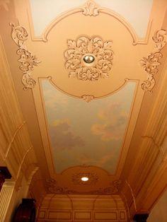 Ceiling embellishment & trompe l'oeil... Ceiling Decor, Ceiling Design, Painted Floors, Painted Ceilings, Michelangelo Paintings, Faux Paint Finishes, Plaster Mouldings, Gypsum Decoration, Classic Ceiling