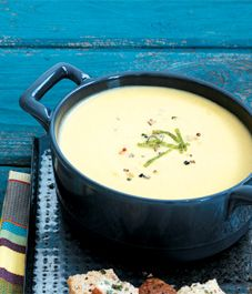 Apple cheddar soup with sage croutons