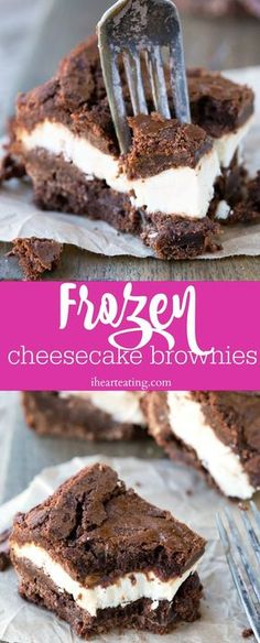 Frozen Cheesecake Brownies have a layer of frozen cheesecake in the middle of this easy brownie recipe. Great summer dessert!